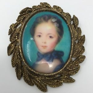 Vintage Pin with Blue and Gold, with young woman